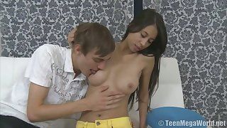 Fabulous long haired buxom babe Paula Shy is happy to ride dick on top