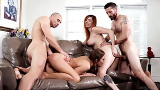Foursome fucking with a pair be incumbent on big ass chicks