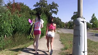 Open-air lesbian hiking with two unpredictable intensify naked teen babes