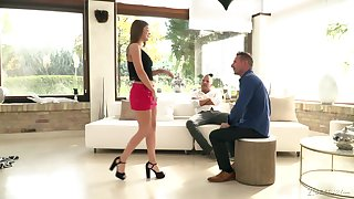 Charming babe Renata Fox gets double penetrated for get under one's greatest time